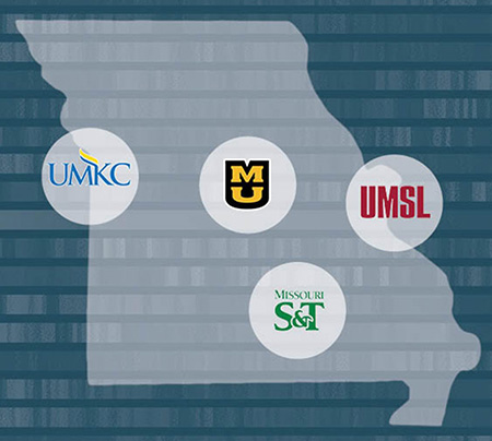 Missouri map showing locations of four UM System campuses